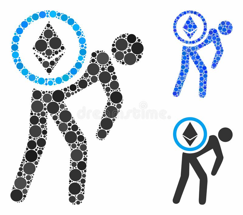 Ethereum courier man Composition Icon of Round Dots. Ethereum courier man composition of small circles in various sizes and shades, based on Ethereum courier man stock illustration