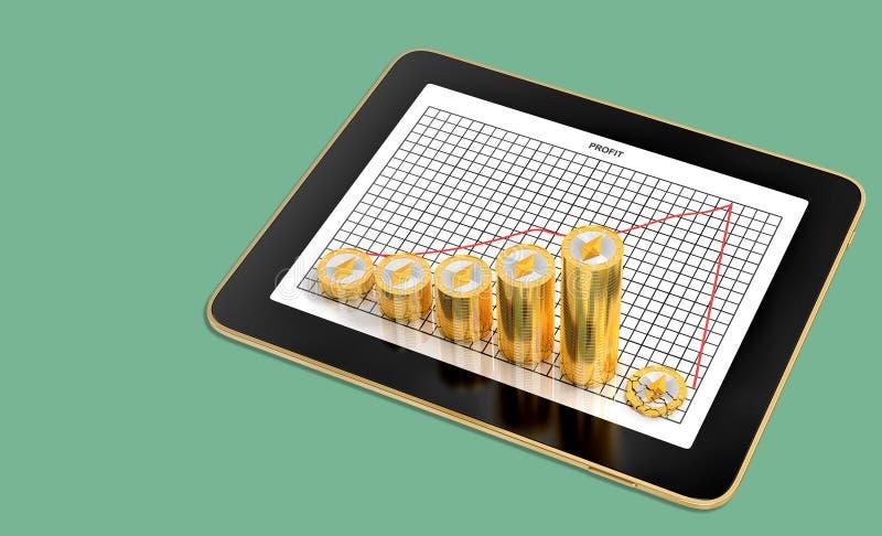 Ethereum Crash - Tablette illustrant un graphique des profits avec des piles de pièces d'or de l'Ethereum illustration stock