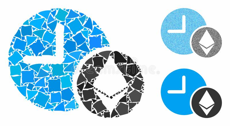 Ethereum credit clock Composition Icon of Uneven Pieces. Ethereum credit clock composition of inequal elements in variable sizes and color tints, based on stock illustration