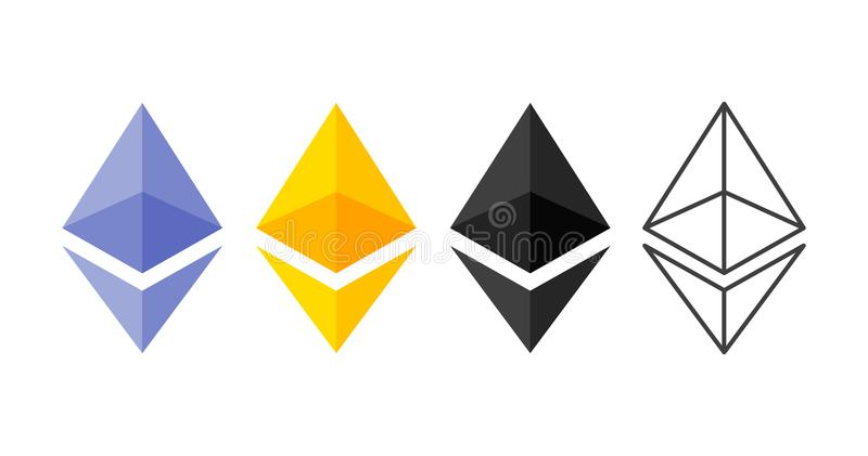 Ethereum cripto currency chrystal icon set. Blockchain platform. Symbol of smart technologies. Decentralized computer stock illustration