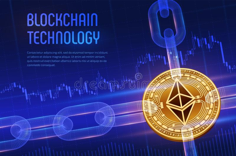 Ethereum. Crypto currency. Block chain. 3D isometric Physical golden Ethereum coin with wireframe chain on blue financial backgrou. Nd. Blockchain concept royalty free stock images