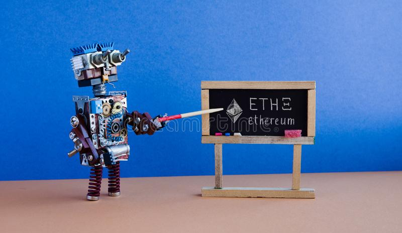 Ethereum crypto currency digital money concept. Robot teacher pointer black chalkboard. Handwritten symbol ETH virtual. Money. Blue wall, brown floor classroom royalty free stock photography