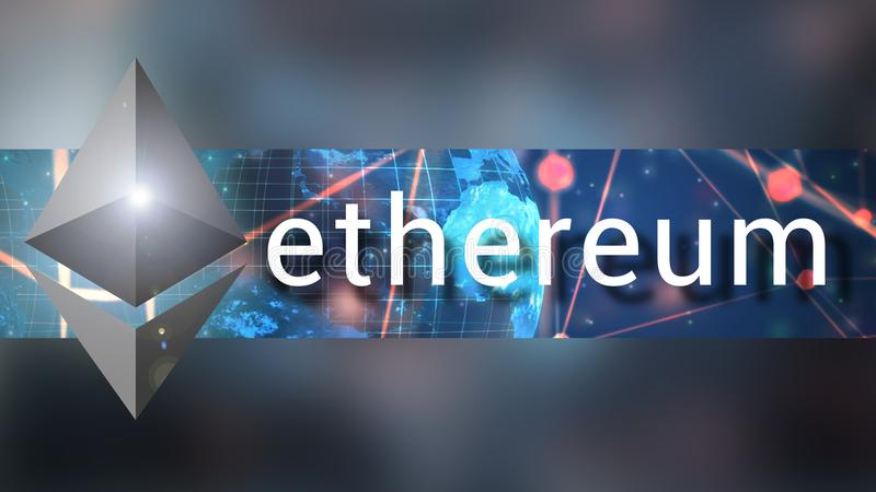 Ethereum cryptocurrency横幅背景例证 库存图片