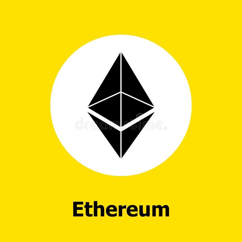 Ethereum cryptocurrency blockchain平的象黄色背景 传染媒介ethereum标志 免版税库存照片