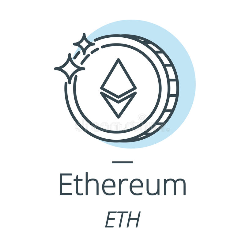 Ethereum cryptocurrency coin line, icon of virtual currency stock illustration
