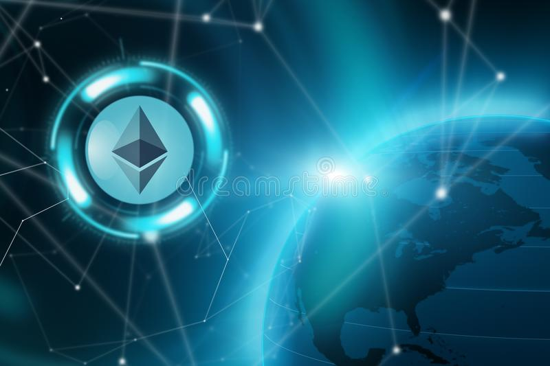 Ethereum cryptocurrency concept stock images