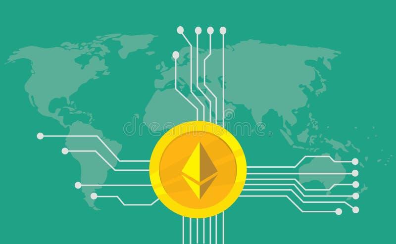 Ethereum cryptocurrency gatunku ikony opcja z złotą monetą i elektroniczny punkt z światowej mapy tłem royalty ilustracja