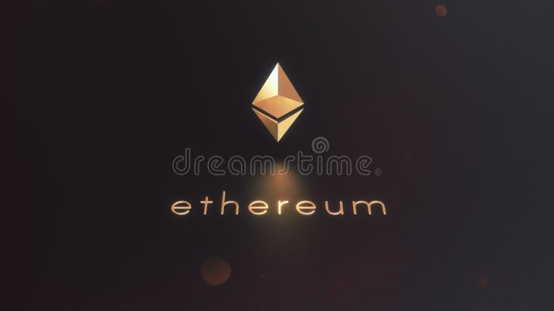 Ethereum cryptocurrency golden logo 3d illustration. 3D Rendering of ethereum cryptocurrency golden logo on the black background vector illustration