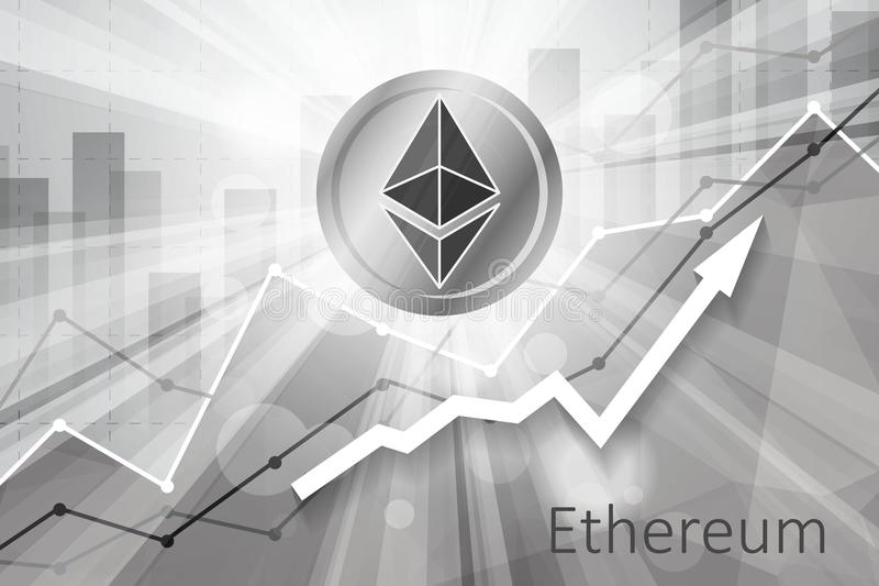 Ethereum cryptocurrency i de ljusa strålarna på bakgrund med st stock illustrationer