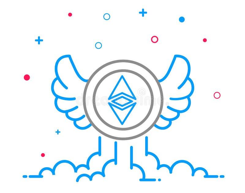 Ethereum-cryptocurrency Münze mit Flügeln in der Linie Art Virtuelle Währung stock abbildung