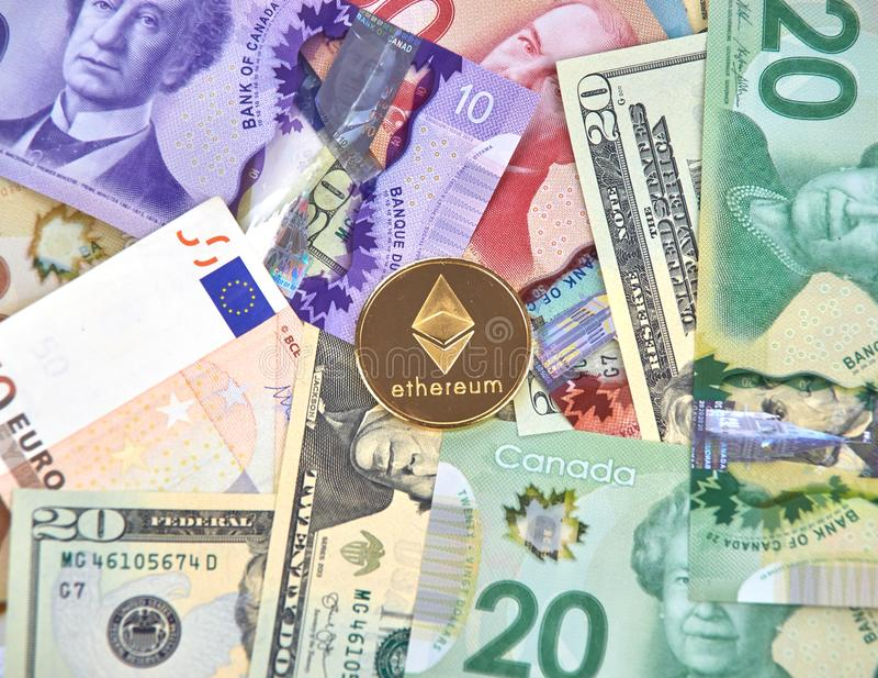 ETHEREUM-cryptocurrencymuntstuk stock afbeelding