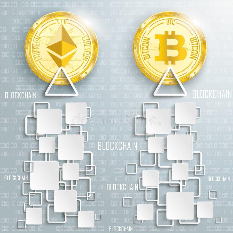 Ethereum d'or Bitcoin invente des données de places de Blockchain illustration stock