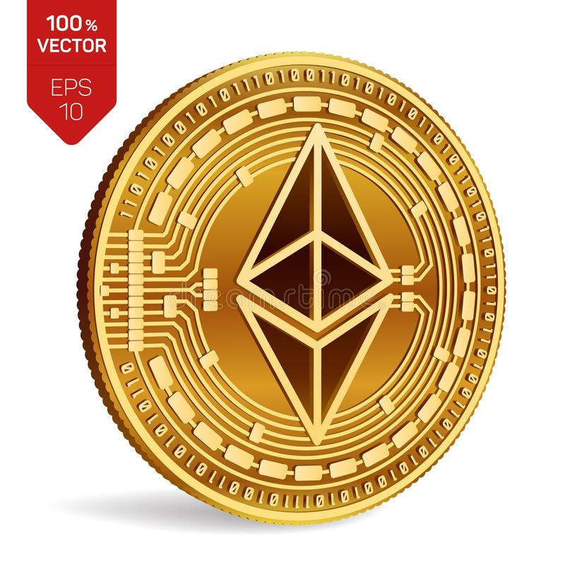 Ethereum. 3D isometric Physical coin. Digital currency. Cryptocurrency. Golden coin with ethereum symbol isolated on white backgro. Und. Vector illustration stock illustration