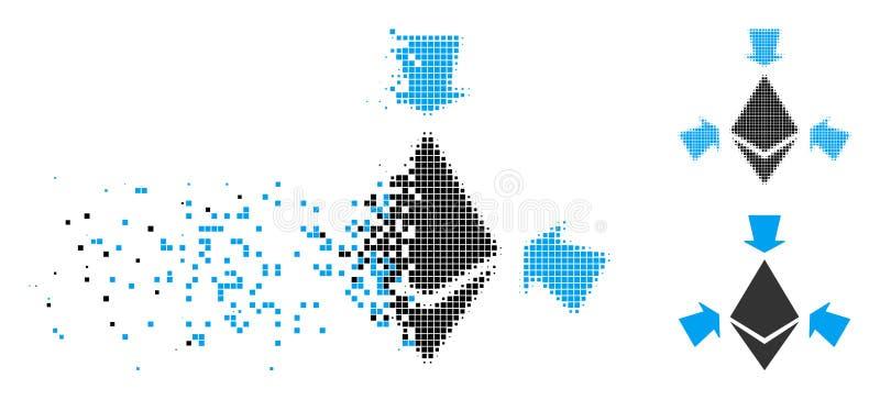 Ethereum de semitono punteado hecho fragmentos recoge el icono de las flechas stock de ilustración