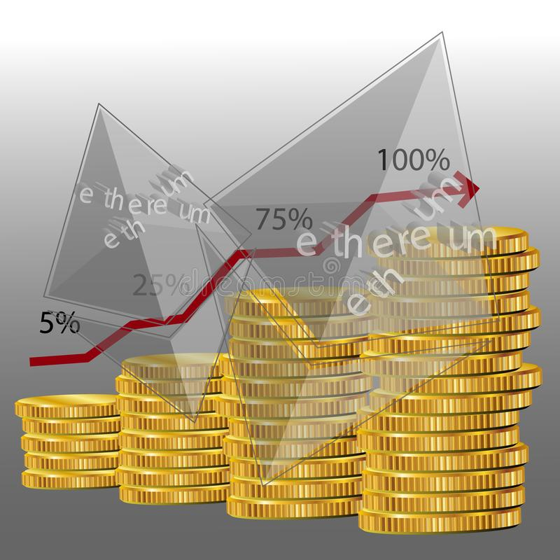 Ethereum diagram 3d. Vector illustration royalty free illustration