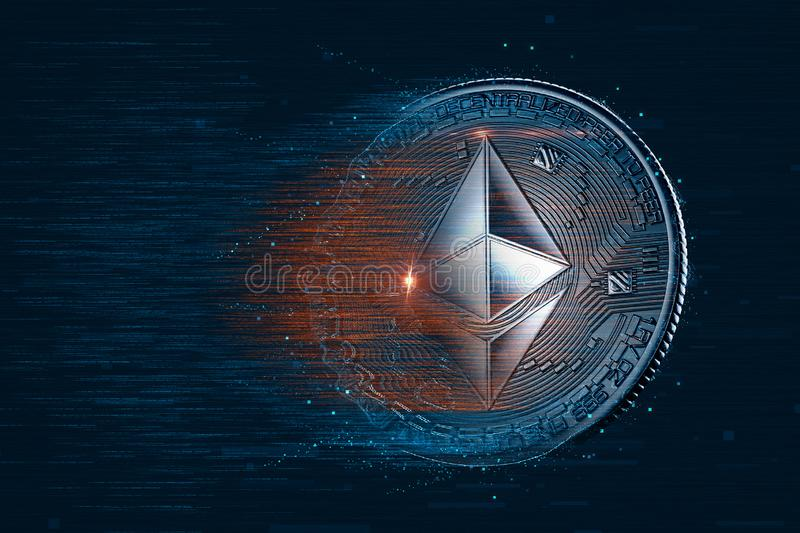 Ethereum digital currency. 3D illustration. Contains clipping pa stock illustration