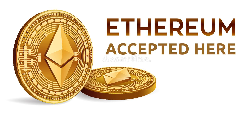 Ethereum Emblema aceptado de la muestra Moneda Crypto Monedas de oro con símbolo del ethereum aisladas en el fondo blanco 3D Phys ilustración del vector
