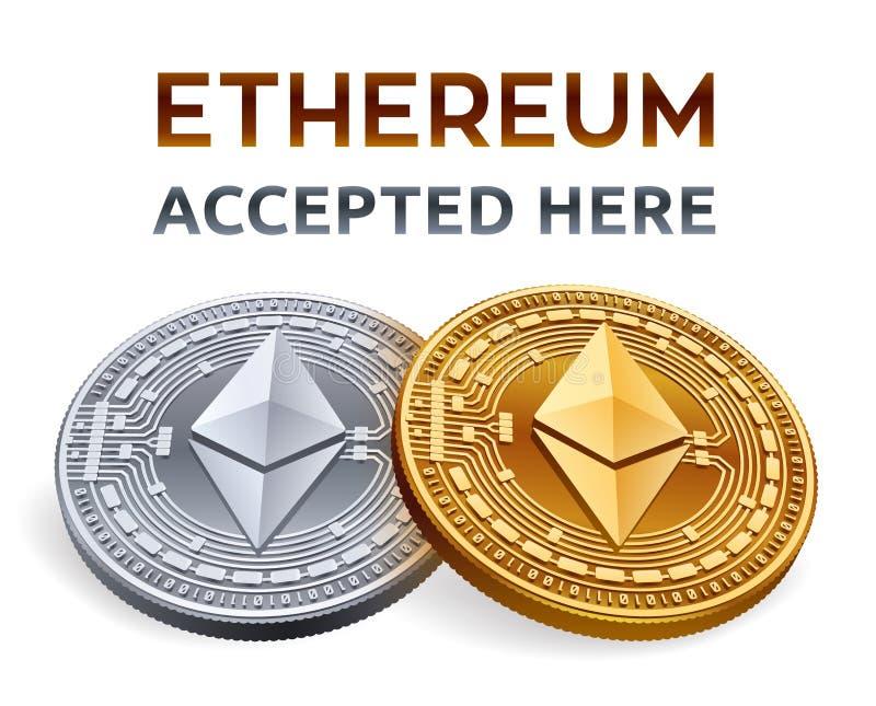 Ethereum Emblema aceptado de la muestra Moneda Crypto Monedas de oro y de plata con el símbolo de Ethereum en el fondo blanco ISO stock de ilustración