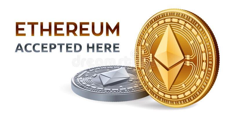 Ethereum Emblema aceptado de la muestra Moneda Crypto Monedas de oro y de plata con símbolo del ethereum aisladas en el fondo bla ilustración del vector