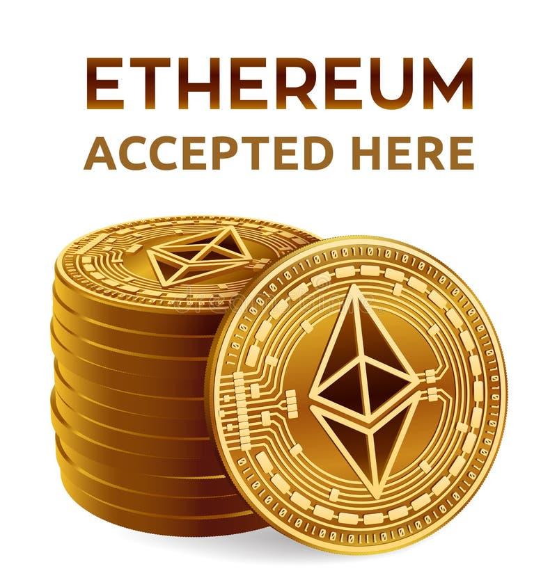 Ethereum Emblema aceptado de la muestra Moneda Crypto Pila de monedas de oro con el símbolo de Ethereum aisladas en el fondo blan ilustración del vector