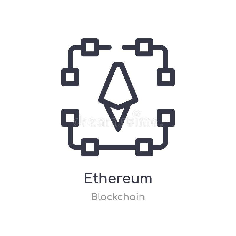 Ethereum-Entwurfsikone lokalisierte Linie Vektorillustration von blockchain Sammlung editable Haarstrich ethereum Ikone auf Weiß lizenzfreie abbildung