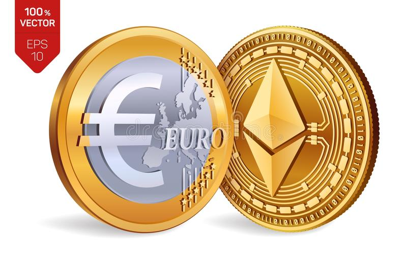 Ethereum. Euro coin. 3D isometric Physical coins. Digital currency. Cryptocurrency. Golden coins with Ethereum and Euro symbol iso royalty free illustration