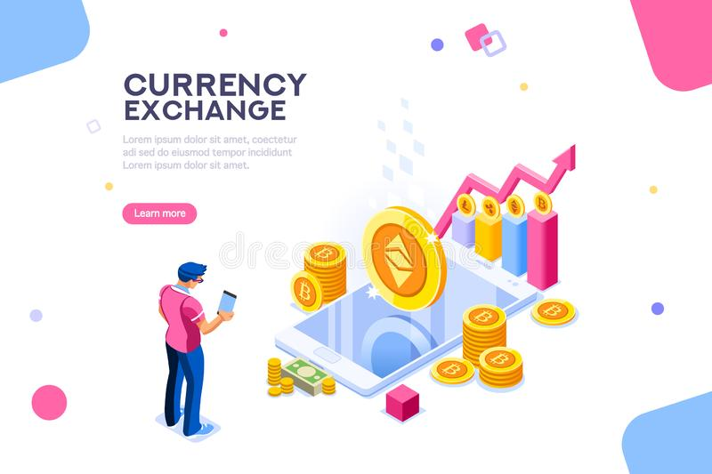 Ethereum Exchange Cryptography Transaction Concept Vector. Ethereum cryptography or transaction code. Block chain infographic, trade page for exchange vector illustration