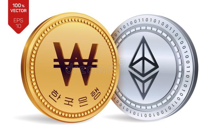 Ethereum gagné pièces de monnaie 3D physiques isométriques Devise de Digital La Corée a gagné la pièce de monnaie Cryptocurrency  illustration stock