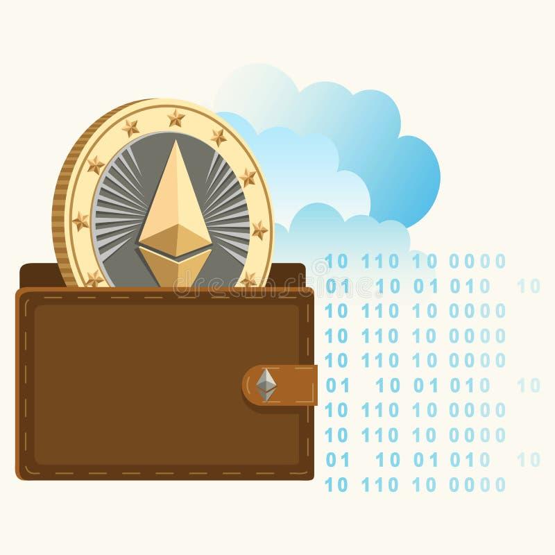 Ethereum-Geldbörse mit flachem Plakat der Münze lizenzfreie abbildung