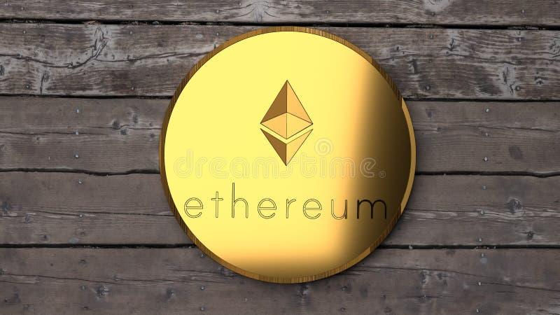 Ethereum-goin, Abschluss hoch und ein Holztisch stock abbildung