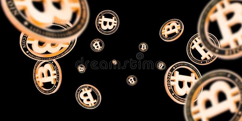 Ethereum, gouden bitmunten geïsoleerd op zwart Cryptocurrency-achtergrond Falling Litecoin vector illustratie