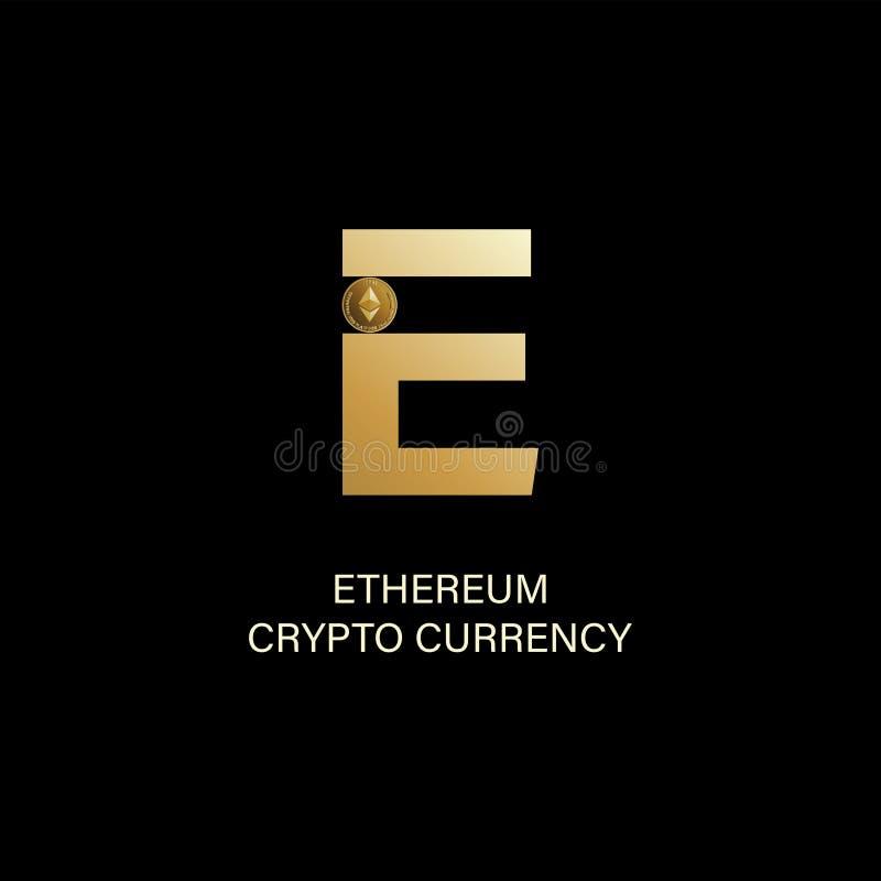 Ethereum Hoofdletter E en symbool van een fysiek muntstuk royalty-vrije illustratie