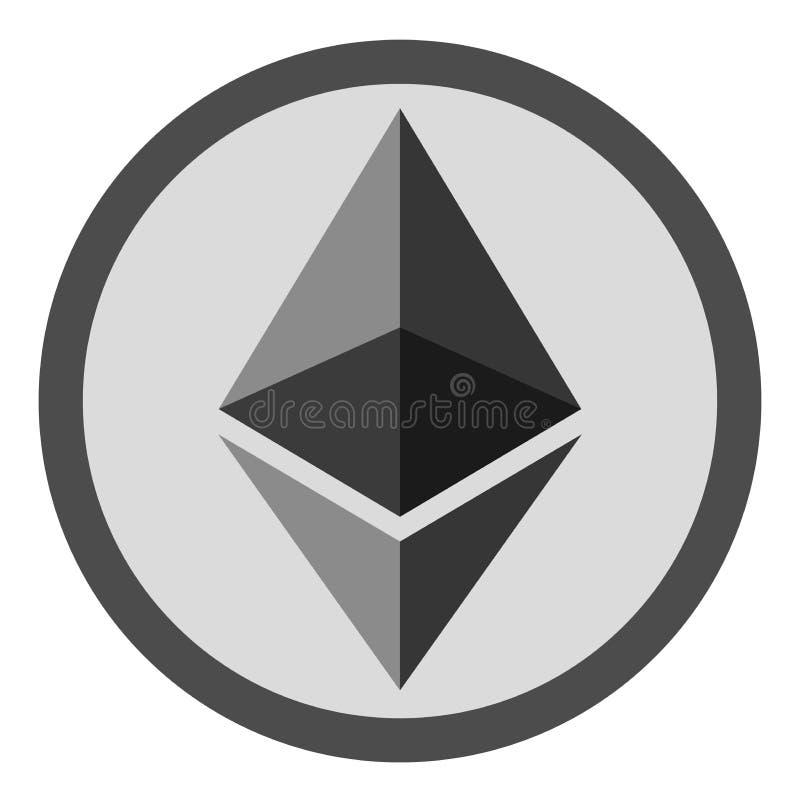 Ethereum lägenhetsymbol för internetpengar Crypto valutasymbol och myntbild också vektor för coreldrawillustration royaltyfri illustrationer