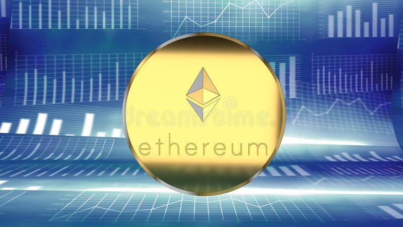 Ethereum, on-line-Münze, die digitale Schlüsselwährung, die Bitcoin ähnlich ist, erregt Investoren ` Aufmerksamkeit und erfasst n stock abbildung