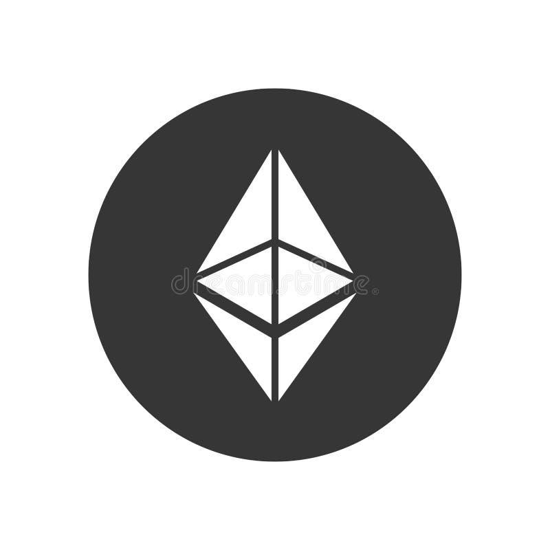 Ethereum-Münzen-Zeichen Schlüsselwährungsikone Vektor stock abbildung