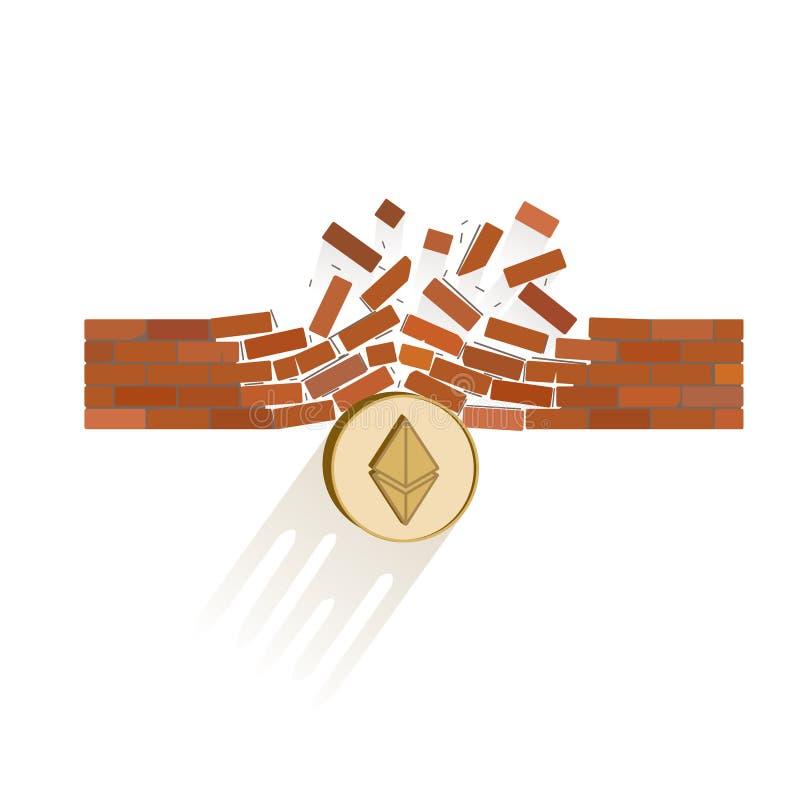 Ethereum-Münzenbrüche durch den Wandwiderstand stock abbildung