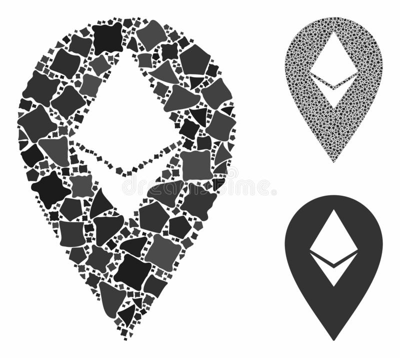 Ethereum marker Composition Icon of Bumpy Parts. Ethereum marker mosaic of joggly pieces in different sizes and color tinges, based on Ethereum marker icon stock illustration