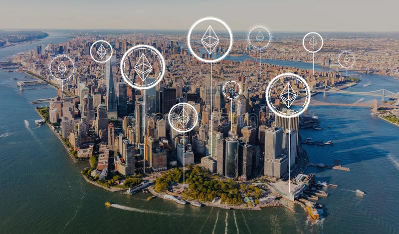 Ethereum met satellietbeeld van Manhattan royalty-vrije stock foto