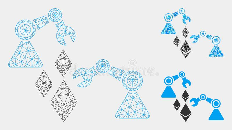 Ethereum Mine Robotics Vector Mesh Wire Frame Model and Triangle Mosaic Icon. Mesh Ethereum mine robotics model with triangle mosaic icon. Wire carcass polygonal vector illustration