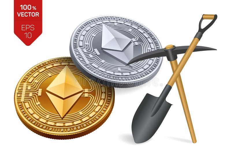 Ethereum mining concept. 3D isometric Physical bit coin with pickaxe and shovel. Digital currency. Cryptocurrency. Golden and silv stock illustration