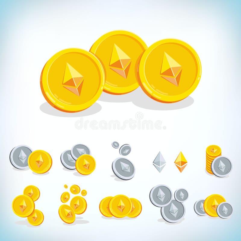 Ethereum 2.a moneda de la historieta Moneda de Digitaces Cryptocurrency Monedas de oro con símbolo aisladas en el fondo blanco ilustración del vector