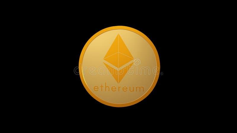 Ethereum, moneda del cryptocurrency del oro aislada en el fondo negro, 3D rinde, vista delantera libre illustration