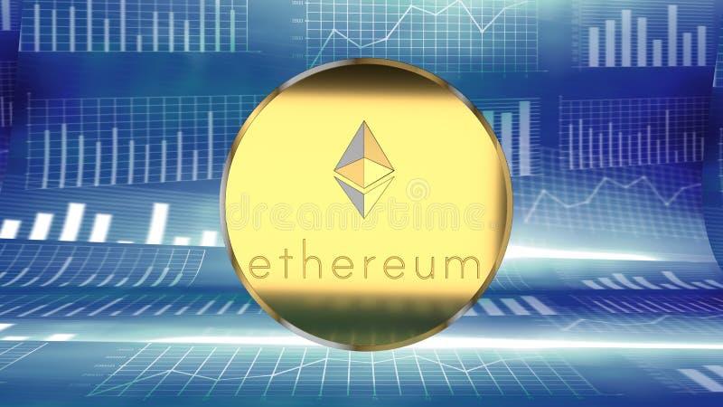 Ethereum, moneda en línea, moneda crypto digital, similar a Bitcoin, atrae la atención del ` de los inversores y recolecta notici stock de ilustración