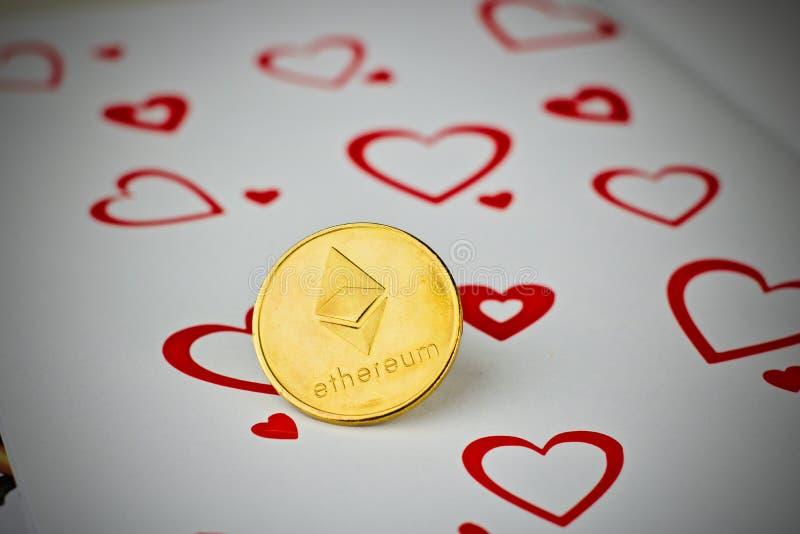 Ethereum moneta - miłości pojęcie fotografia royalty free