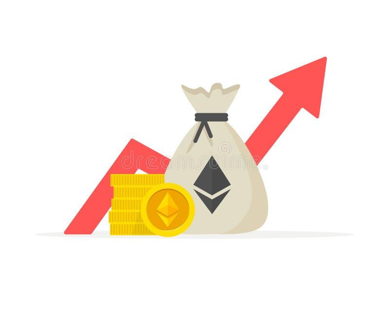 Ethereum moneta Pieniężny występ, ethereum biznesowa produktywność, statystyki raport, fundusz powierniczy, powrót dalej ilustracja wektor