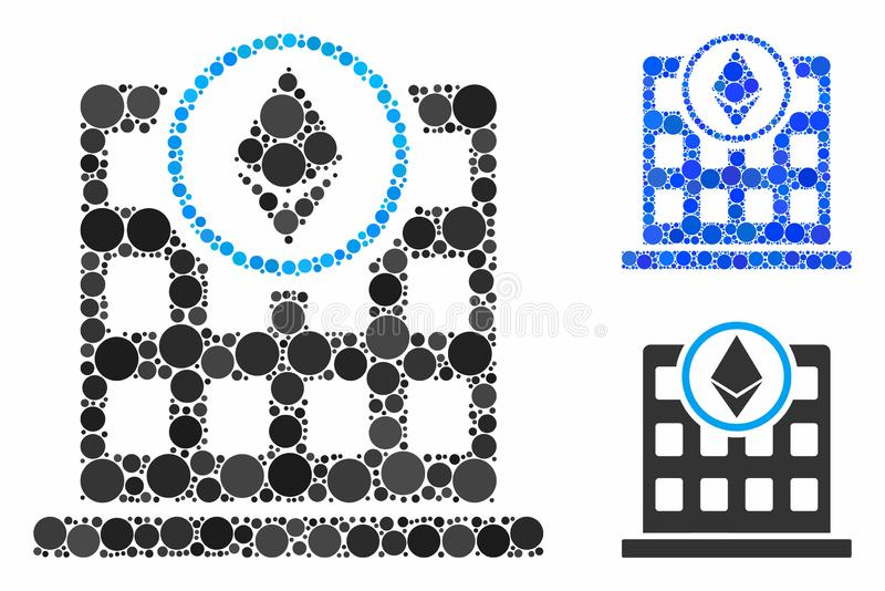 Ethereum office Mosaic Icon of Spheric Items. Ethereum office composition of filled circles in variable sizes and color tints, based on Ethereum office icon stock illustration