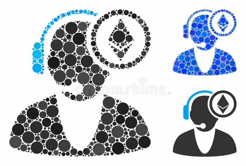Ethereum operator Mosaic Icon of Round Dots. Ethereum operator composition of small circles in different sizes and color tones, based on Ethereum operator icon stock illustration