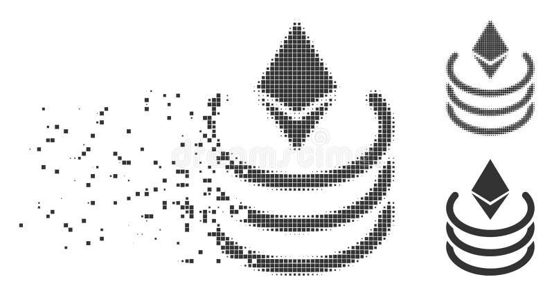 Ethereum piksla Halftone portal Rozpuszczająca ikona royalty ilustracja