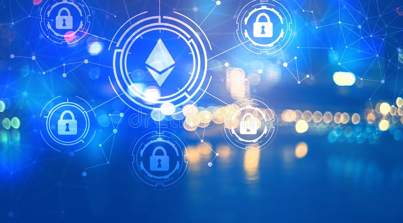 Ethereum security theme with city lights at night. Ethereum security theme with blurred city lights at night stock illustration