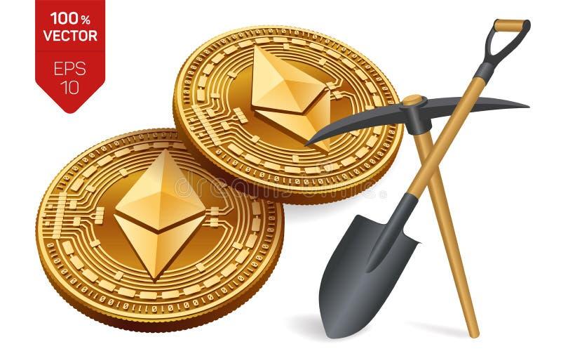 Ethereum som bryter begrepp isometriskt bitmynt för läkarundersökning 3D med spetshackan och skyffeln Digital valuta Cryptocurren stock illustrationer